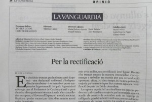 Editorial de La Vanguardia d'avui