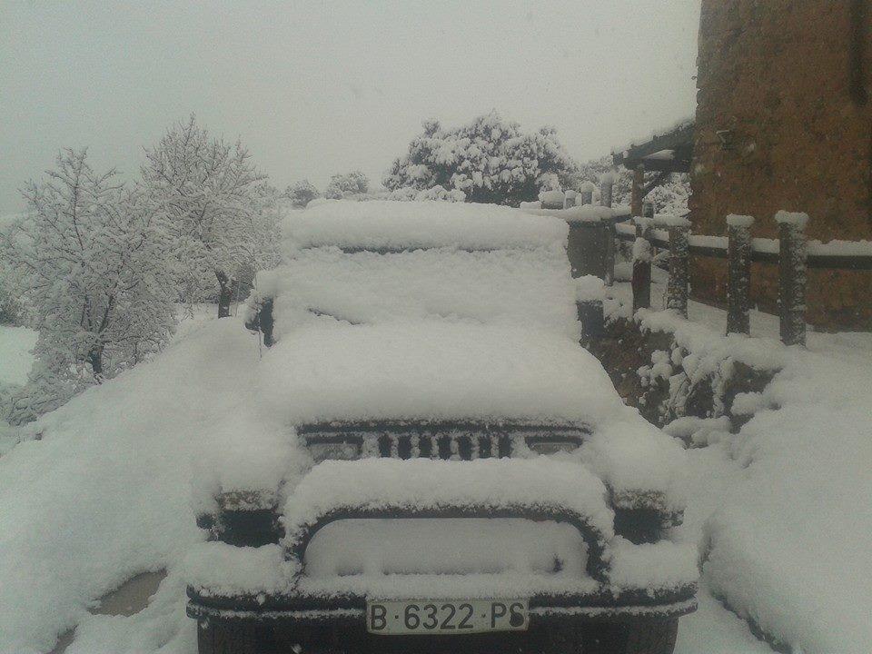 Pantà de Siurana, al terme de Cornudella, nevat. Foto: Kym Teixidó