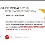 XXII Trobada de Corals de Secundària  dijous 14 d'abril a l'Auditori Josep Carrera