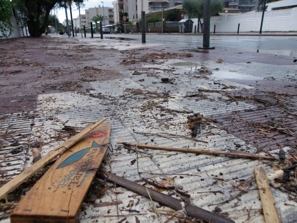 Restes vegetals i d'enruna en una vorera de Vilafortuny. Foto: Romà Rofes / Tarragona21.cat