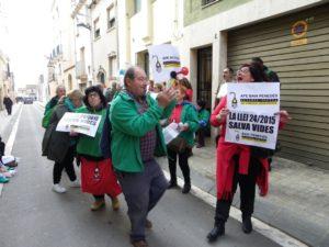 Un moment de la protesta, organitzada per la PAH i l'APE del Baix Penedès. Foto: Romà Rofes / Tarragona21.cat
