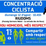 Ex ciclistes professionals com 'Purito' i Àngel Edo se sumen a la concentració en record de les víctimes de Riudoms