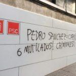 Pintada contra Pedro Sánchez a la seu del PSC a Tarragona