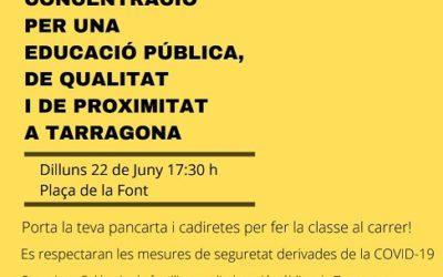 Mobilització dilluns a Tarragona per donar a conèixer «la greu manca de places» de P3 a les escoles públiques