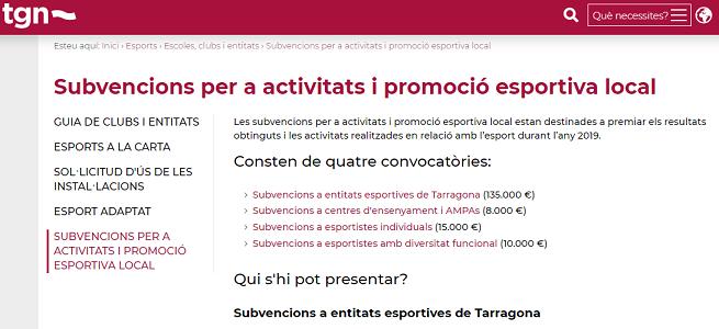 Tarragona incrementa un 40% les subvencions per a les activitats i la promoció esportiva respecte l'any passat