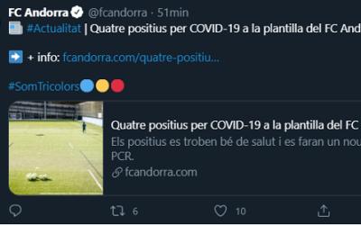 Quatre positius de Covid al FC Andorra obliguen a cancel·lar l'amistós contra el Nàstic d'aquest dissabte