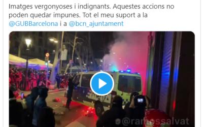 Pau Ricomà dona 'suport' a la Guàrdia Urbana i ajuntament de Barcelona davant 'les imatges vergonyoses' dels aldarulls