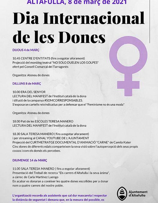 Entitats d'Altafulla i l'Ajuntament organitzen un programa reivindicatiu per al Dia Internacional de les Dones