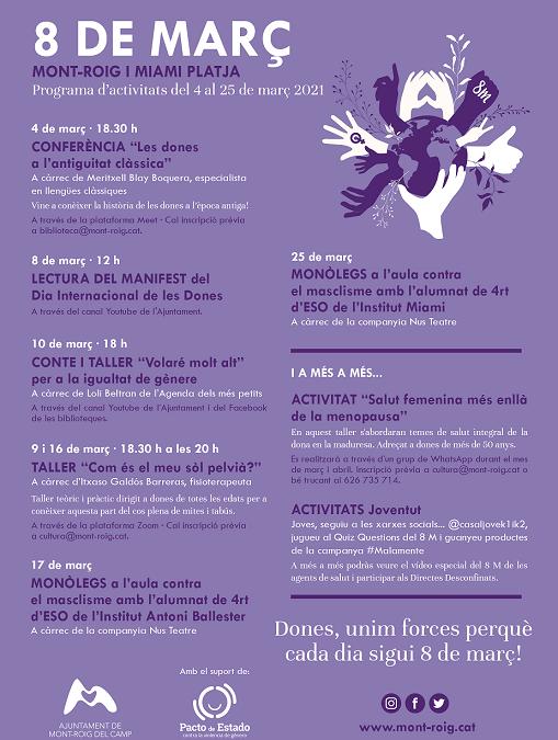 L'Ajuntament de Mont-roig se suma a la commemoració del 8M amb un programa d'activitats per a totes les edats