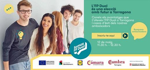 La Cambra de Tarragona organitza un acte en línia amb alumnes de l'ESO i Batxillerat per a impulsar l'FP Dual