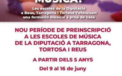 Les escoles de música de la Diputació a Tarragona, Reus i Tortosa reobren el període de preinscripció