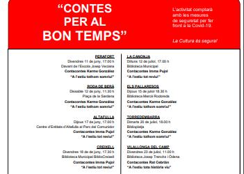 El Consell Comarcal dinamitza la lectura a les Biblioteques del Tarragonès amb el Cicle 'Contes per al bon temps'