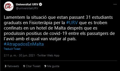 Un grup de 31 estudiants de la URV es troba confinat en un hotel de Malta tot i estar vacunats