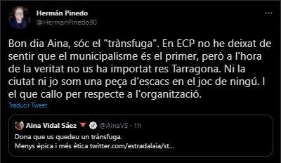 Batussa per xarxes entre la diputada d'ECP Aina Vidal, la CUP i Hermán Pinedo
