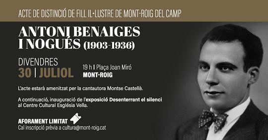 L'Ajuntament celebra l'acte de distinció del Fill Il·lustre de Mont-roig del Camp, el mestre Antoni Benaiges i Nogués