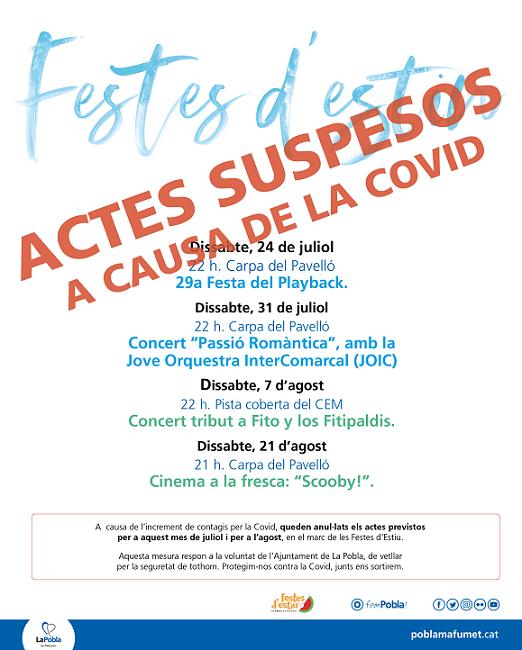 Es cancel·len les Festes d'Estiu de la Pobla davant l'increment de contagis per la Covid