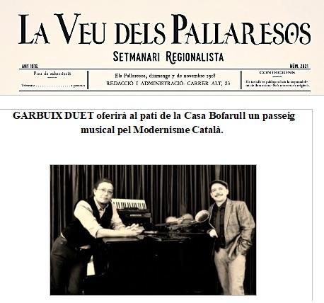 Garbuix Duet oferirà al pati de la Casa Bofarull dels Pallaresos un passeig musical pel modernisme català